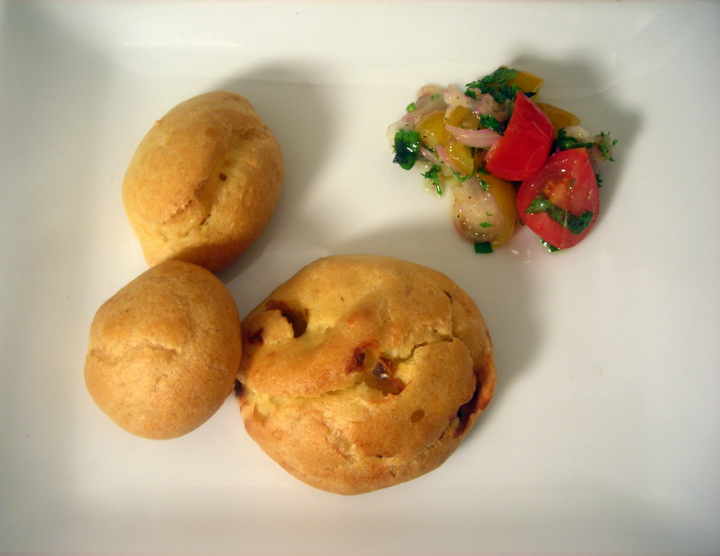 Anchovy gougères, cherry tomato salad