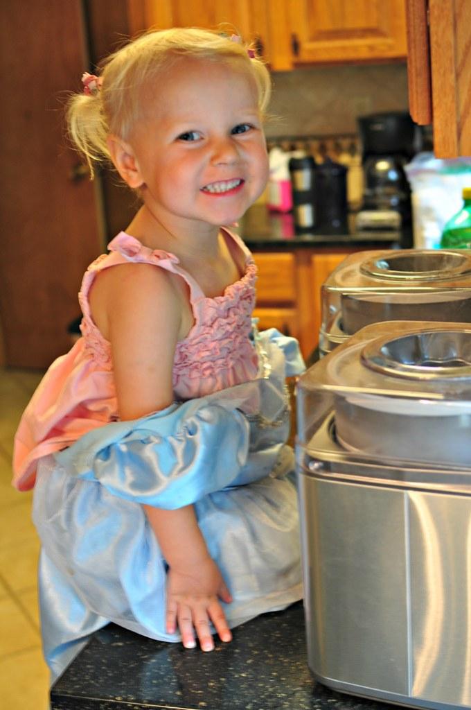 Helping Make the Mint Chocolate Chip Ice Cream