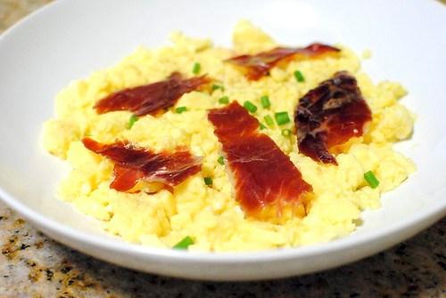 sous vide scrambled eggs, jamon iberico