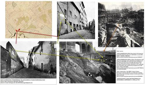 ROMA ARCHEOLOGIA: I FORI IMPERIALI / VIA ALESSANDRNA & VIA DEL TEMPIO DELLA PACE [Prima e dopo le demolizioni 1930-1932], (1930-1932). by Martin G. Conde