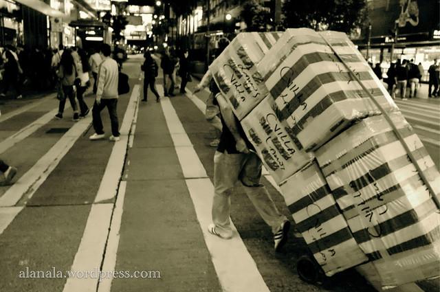 Zebra crossing & striped bags