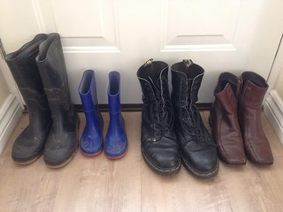 Different sizes of boots