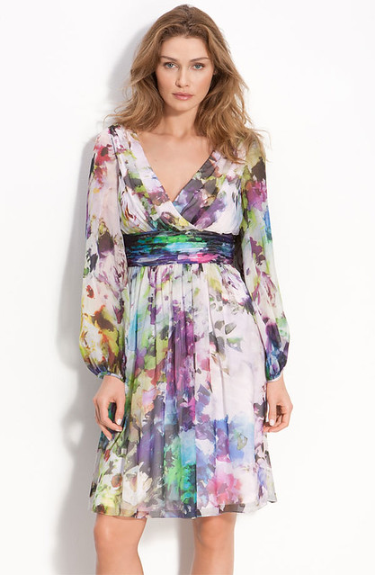Floral Print Silk Chiffon Dress