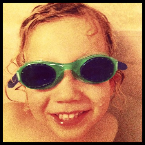 New swimming goggles in the bathtub