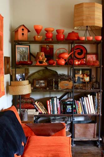 orange velvet & orange glassware by denise carbonell