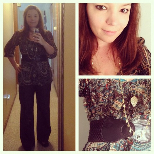 #wiwsunday Brown pants that are no longer too tight, cami that is too big, shirt that is almost too big, belt, two #liasophia necklaces and earrings. And a smile. Holla.