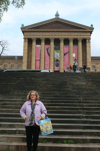 Dianne across street from Philly art museum