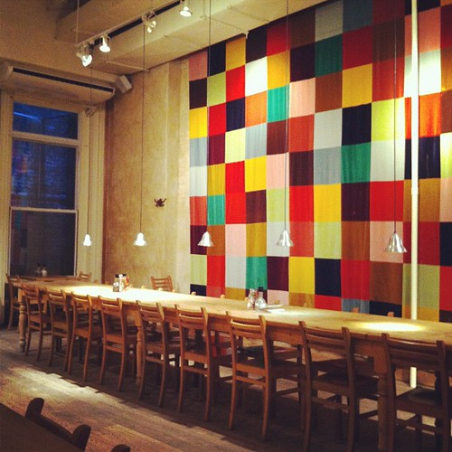quilt wall hanging @ la pain quotidien soho nyc