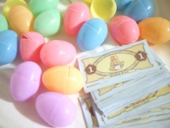 Bunny money to be hidden in plastic Easter eggs for the Easter egg hunt
