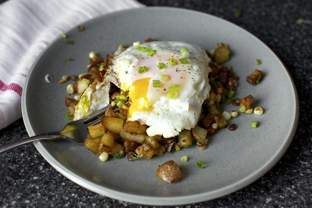 bacon corn hash, broken egg