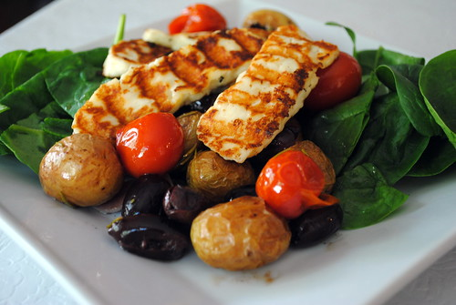 Chargrilled halloumi with rosemary & olive potatoes