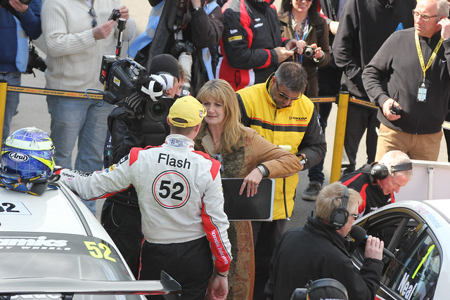 Gordon Sheddon inteviewed by ITV's Louise Goodman after his win in BTCC at Donington Park in April 2012