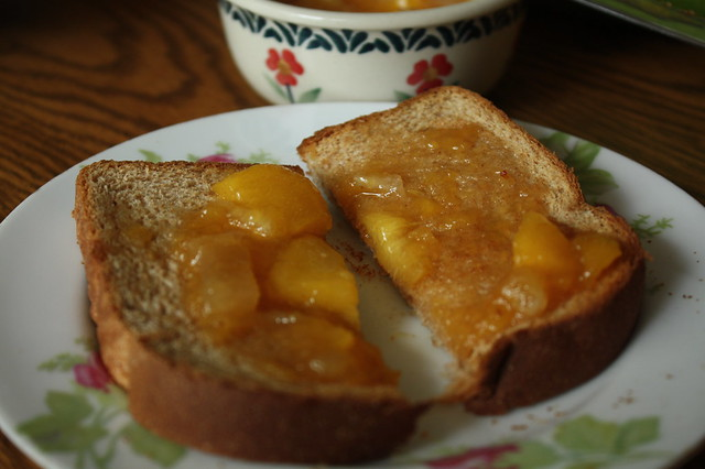 Tasting the jam on toast