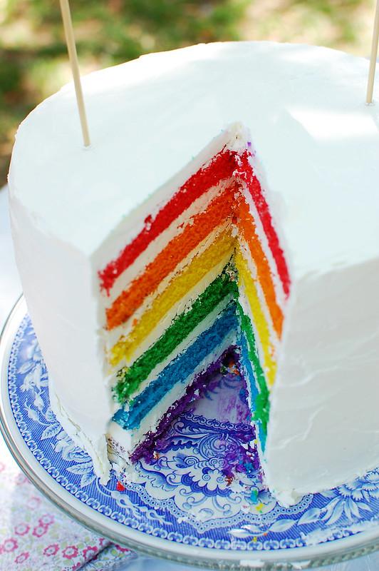 rainbow cake cut