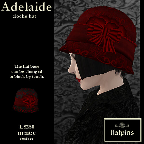 Hatpins - Adelaide Cloche Hat - Candy Apple Red