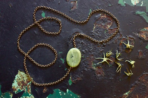 chunky brass with olive jade oval by denise carbonell