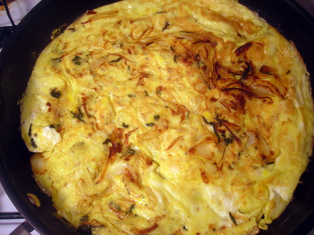 Sage and onion frittata