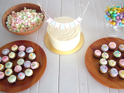 Easter Party Table with appropriate pastel coloured confections