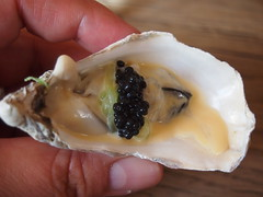 Poached rock oyster, pickled cucumber and avruga caviar