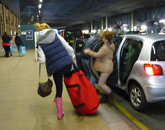 People with heavy luggage, Waverley Station