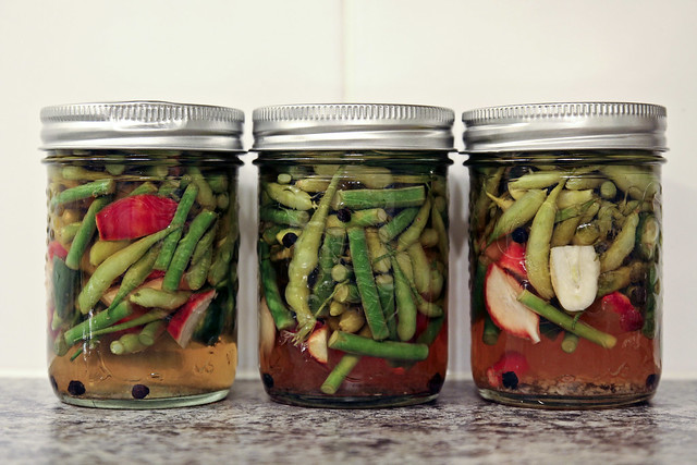 pickled radish pods & garlic scapes