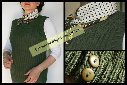 green Rowan vest - finished