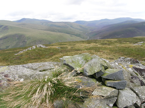 Round Knott cairn. Blencathra and Skiddaw behind.