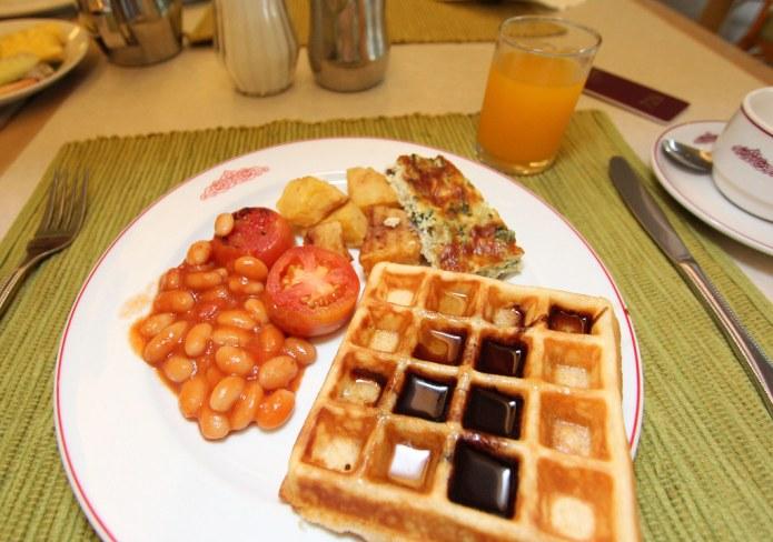 breakfast - waffles, beans, juice