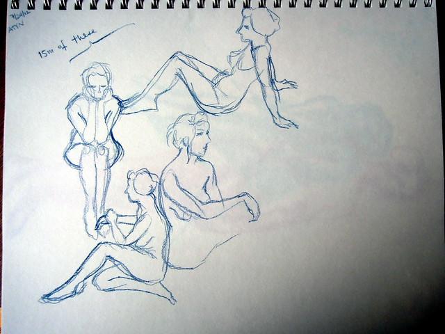 Short poses sketched in dark blue pencil