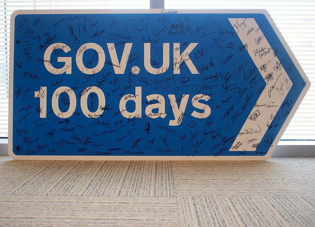 GOV.UK 100 days signed sign by @psd http://www.flickr.com/photos/psd/7649345008/in/pool-1873292@N24/
