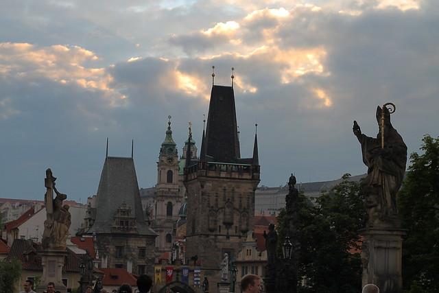 Sunset clouds over the Malostranská mostecká věž