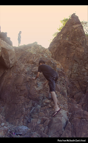 Rock climbing in Digisit Beach