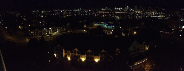 Panorama from our room at the HarbourTowers