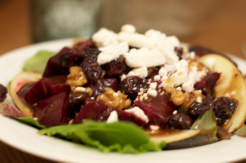 salad with roasted beets and candied walnuts