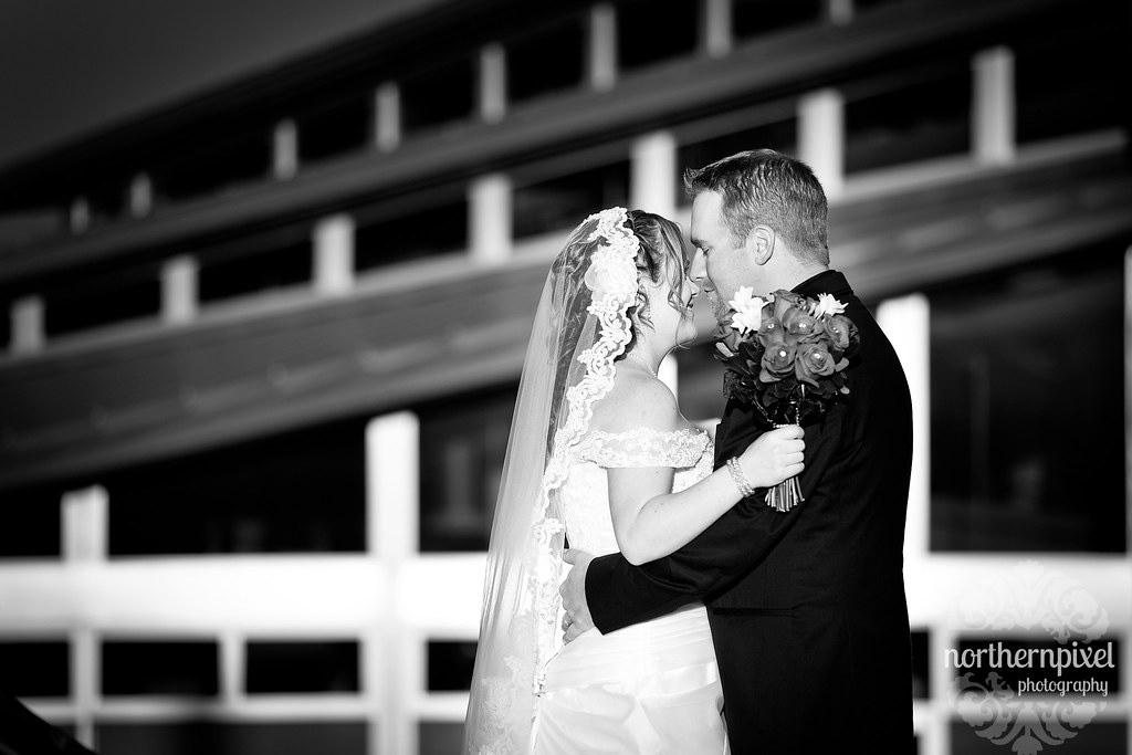 Newlyweds at UNBC - Prince George BC Wedding black and white