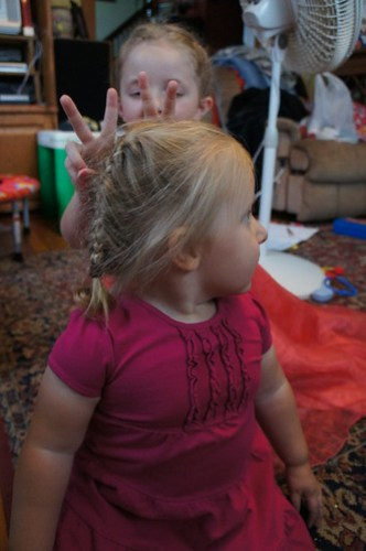 Evie with bunny ears thanks to Lauren