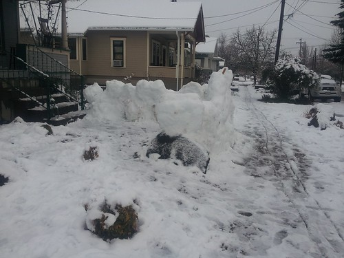 snow fort in a front yard of a house in Corvallis