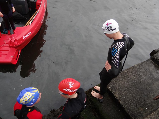 Young swimmers inspecting the water in Klaksvík harbor