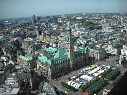The View from St. Petri Church Tower in Hamburg, Germany