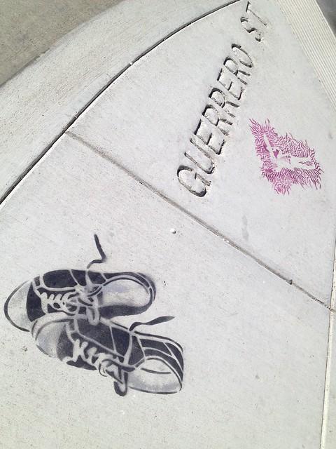 Sneakers sidewalk stencil, Guerrero Street