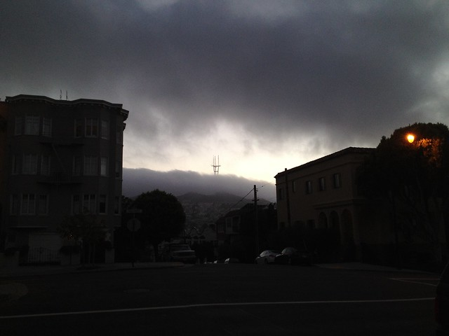 The fog rolls in past Sutro Tower, Noe Valley