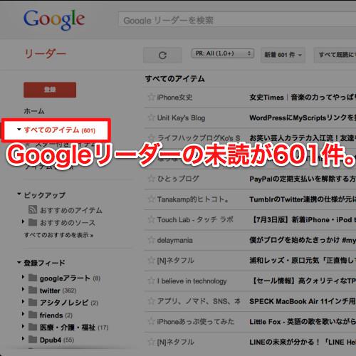 Googleリーダー未読601件
