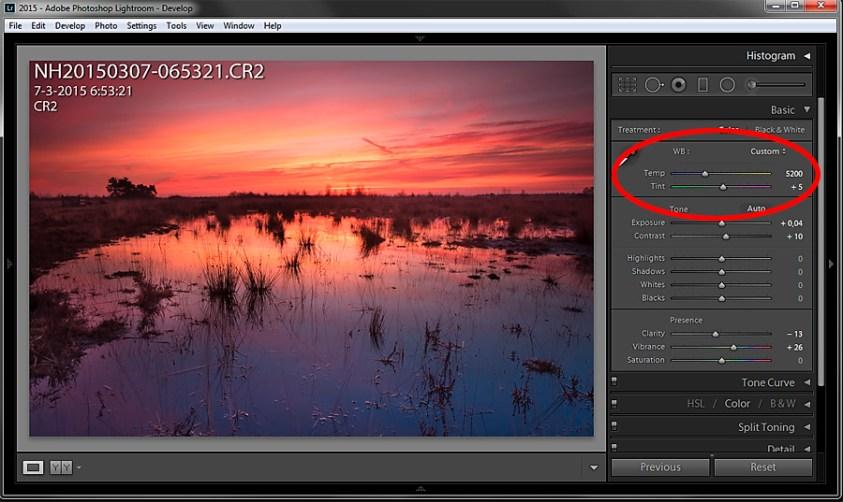 Je kunt makkelijk de witbalans aanpassen in Lightroom als je raw fotografeerd
