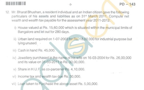 Bangalore University Question Paper Oct 2012II Year M.Com. - Commerce AT - 2.7 : Direct Taxes