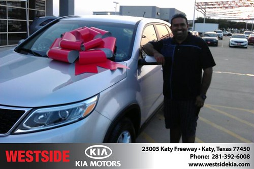 Thank you to Gregorio Gonzalez on your new 2014 Kia Sorento from Orlando Baez and everyone at Westside Kia! by Westside KIA