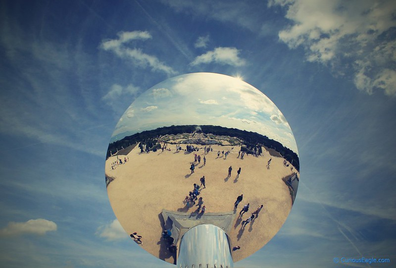 Sky Mirror - Sculpture by Anish Kapoor in the Garden of Palace of Versailles