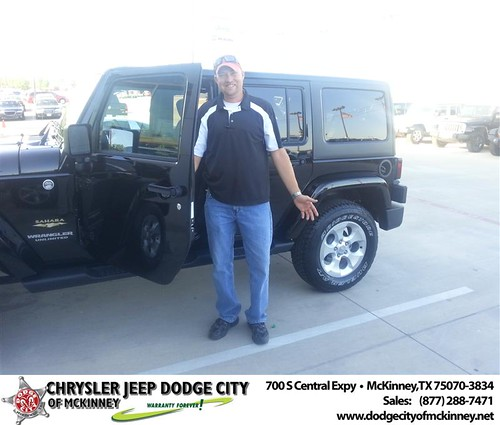 Dodge City of McKinney would like to say Congratulations to James Martinolich on the 2013 Jeep Wrangler by Dodge City McKinney Texas