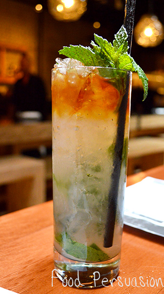 mojito topped with dark rum