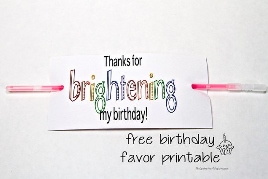 birthday favor printable