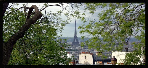 Eiffel Tower through the trees from Montmatre in Paris